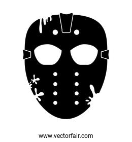 happy halloween, scary goalie mask trick or treat party celebration silhouette icon