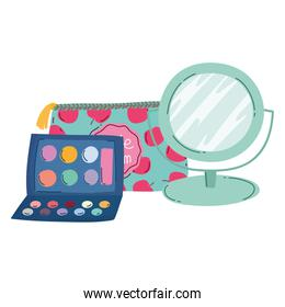 makeup fashion beauty eyeshadow palette mirror and cosmetic bag