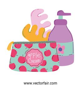 makeup cosmetics product fashion beauty cosmetic bag pedicure separators and lotion bottle