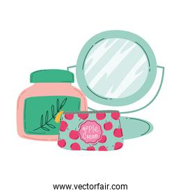 makeup cosmetics beauty cosmetic bag mirror and skin care product