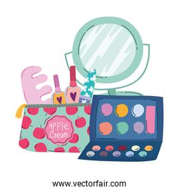 makeup cosmetics product fashion beauty manicure and pedicure bag mirror eyeshadow palette
