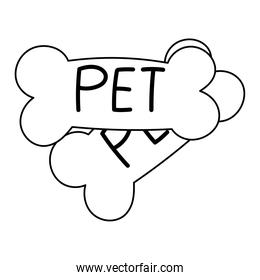 pet shop cookies bone food cartoon isolated white background design line icon