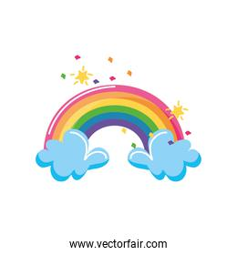 rainbow and clouds with stars on a white background