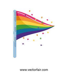 gay pride flag in white background