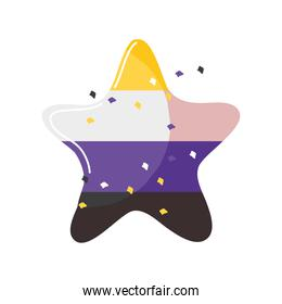 star with gay pride flag colors on white background