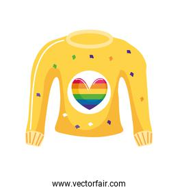 clothing with gay pride symbol in white background