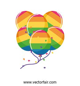 helium balloons in gay flag colors on white background