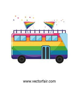 painted tourist bus color LGBTQ flag on white background