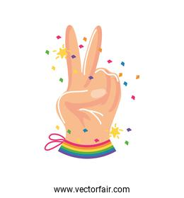 hand with symbol of peace and love, gay pride