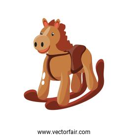 horse, wooden animal on white background