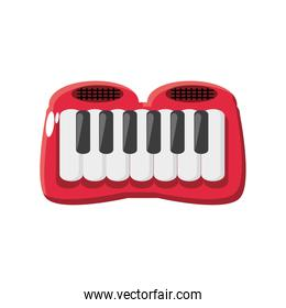 keyboard piano, kids toy on white background