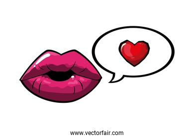 female and pink pop art mouth with bubble and heart vector design