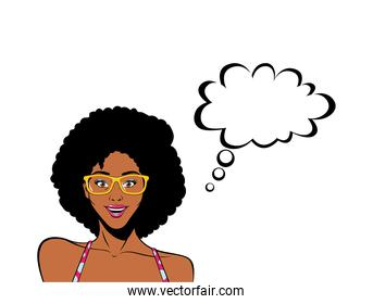 retro black afro woman cartoon with glasses and bubble vector design