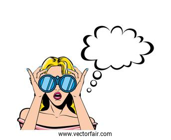 retro blond woman cartoon with binoculars and bubble vector design