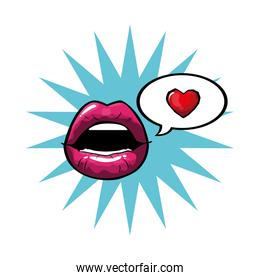 female and pink pop art mouth with explosion bubble and heart vector design