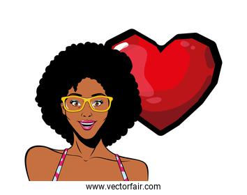 retro black afro woman cartoon with glasses and heart vector design
