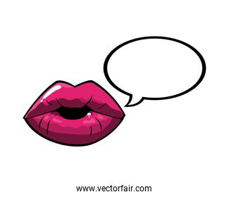 female and pink pop art mouth with bubble vector design