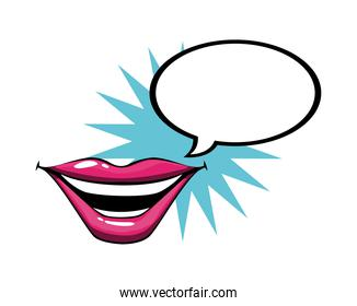 female and pink pop art mouth with explosion and bubble vector design