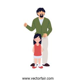 Father and daughter cartoons vector design