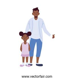 black father and daughter cartoons vector design