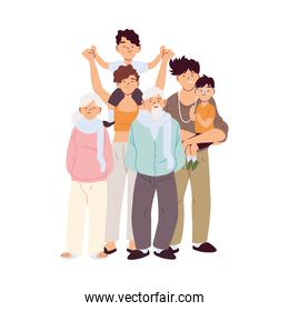 Mother father and sons with grandparents cartoons vector design