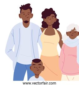 Mother father and son with grandfather cartoons vector design