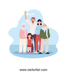 Mother father and daughter with grandparents cartoons vector design