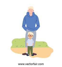 Father and son cartoons vector design