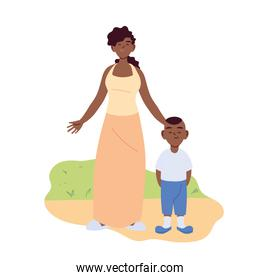Mother with son cartoons vector design