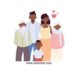 Mother father and son with grandparents cartoons vector design