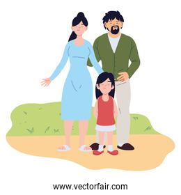 Mother father and daughter cartoons vector design