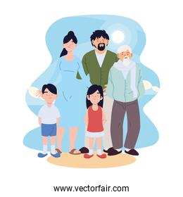 Mother father daughter and son with grandfather cartoons vector design