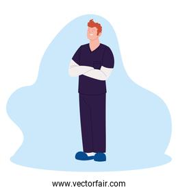 man doctor with uniform vector design