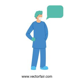 man doctor with mask uniform and communication bubble vector design