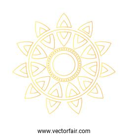 gold mandala in line style vector design