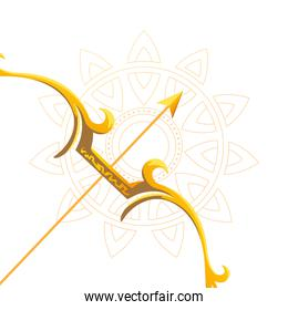 gold arrow and bow in front of mandala ornament vector design