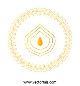 gold drop inside mandala in line style vector design