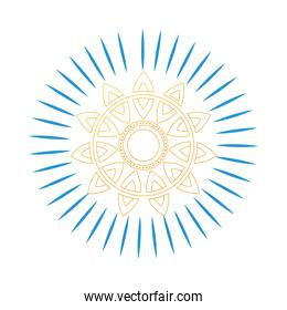 gold mandala with blue lines vector design