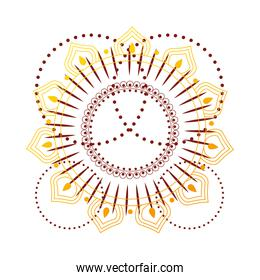 gold mandala in line style with pointed circles vector design