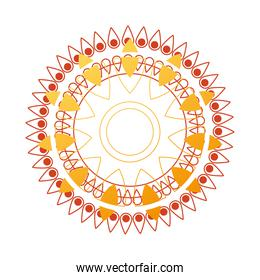 gold mandala in line style with red and yellow vector design