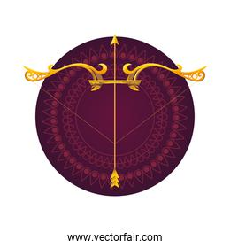 gold arrow and bow in purple mandala ornament vector design