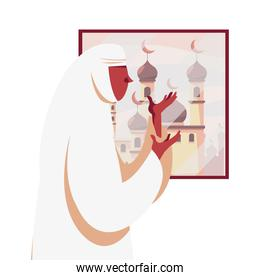 muslim woman praying in front of window with mosque vector design