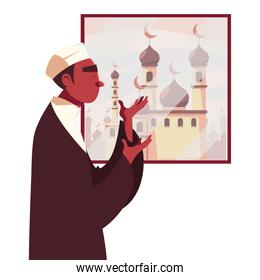 muslim man praying in front of window with mosque vector design