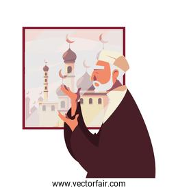 muslim old man praying in front of window with mosque vector design