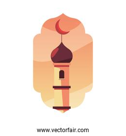 muslim tower with moon vector design