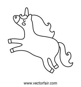cute unicorn magical character line style icon