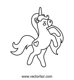cute unicorn with heart tatto magical horse line style icon