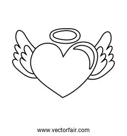 heart with halo and wings line style icon