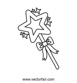magic wand with star line style icon