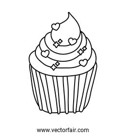sweet cupcake with hearts ships line style